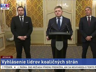 Zásadné vyhlásenie predsedov koaličných strán R. Fica, A. Danka a B. Bugára