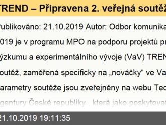 """TREND – Připravena 2. veřejná soutěž v programu TREND, podprogramu 2 """"Nováčci"""""""