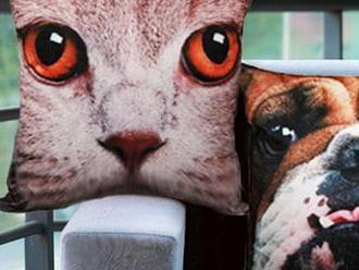 Neprehliadnuteľný dekračný vankúš s vyobrazením psa alebo mačky.