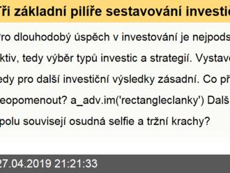 Tři základní pilíře sestavování investičního portfolia
