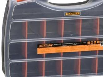 Praktický plastový kufrík na uloženie drobných súčiastok a príslušenstva.