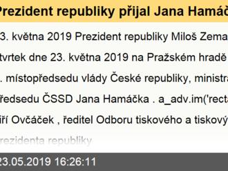 Prezident republiky přijal Jana Hamáčka