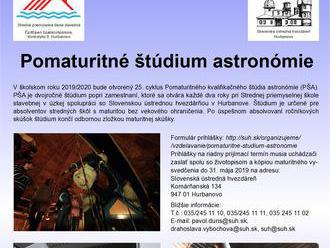 Pomaturitné štúdium astronómie