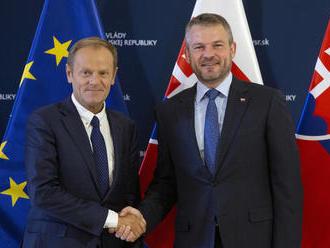 Pellegrini sa na úrade vlády stretol so šéfom Európskej rady Tuskom: Toto bolo cieľom diskusie