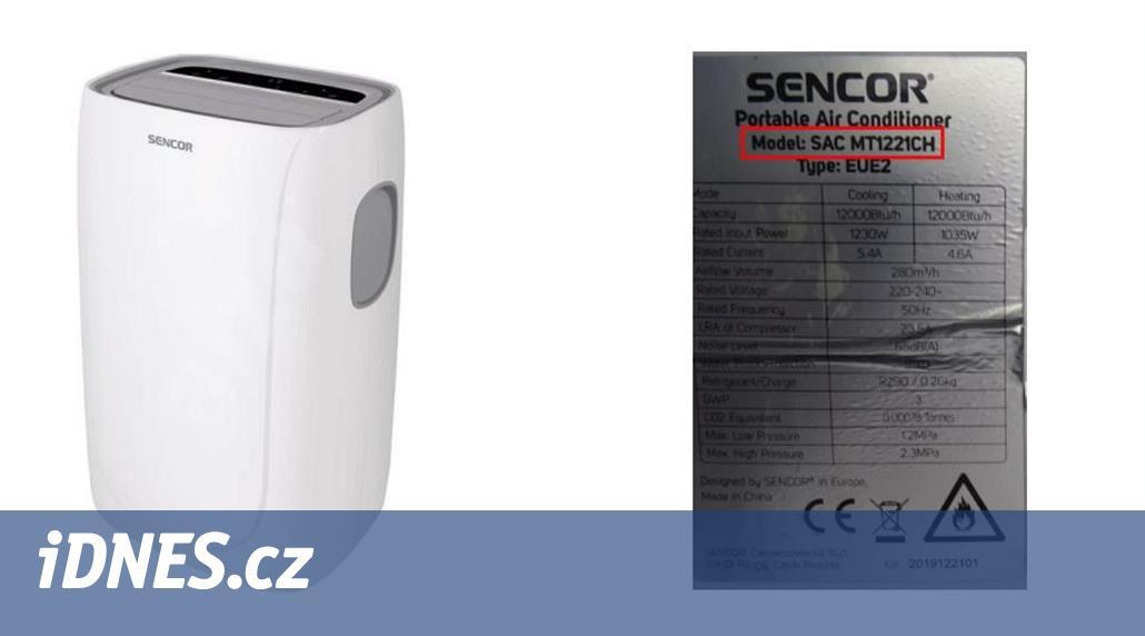 Sencor svolává do opravy dva modely mobilní klimatizace, hrozí zkrat