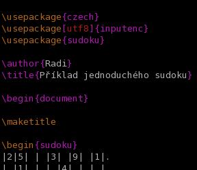 Netradiční použití LaTeXu – sazba Sudoku