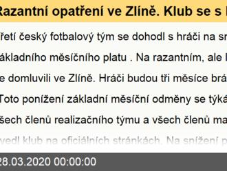 Razantní opatření ve Zlíně. Klub se s hráči domluvil na snížení platů