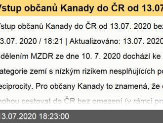 Vstup občanů Kanady do ČR od 13.07.2020 bez omezení.