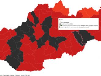 Nové rozdelenie okresov: situácia sa zhoršuje, tmavoružových okresov je už len šesť