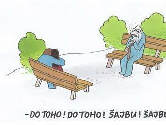 Skalný Rusofil drukuje zamilovaným. Opanoval deda entuziazmus. Na lavičke sedia Slovenka a Rus